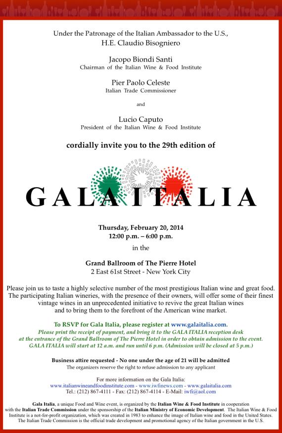 Gala Italia 2014 Invitation