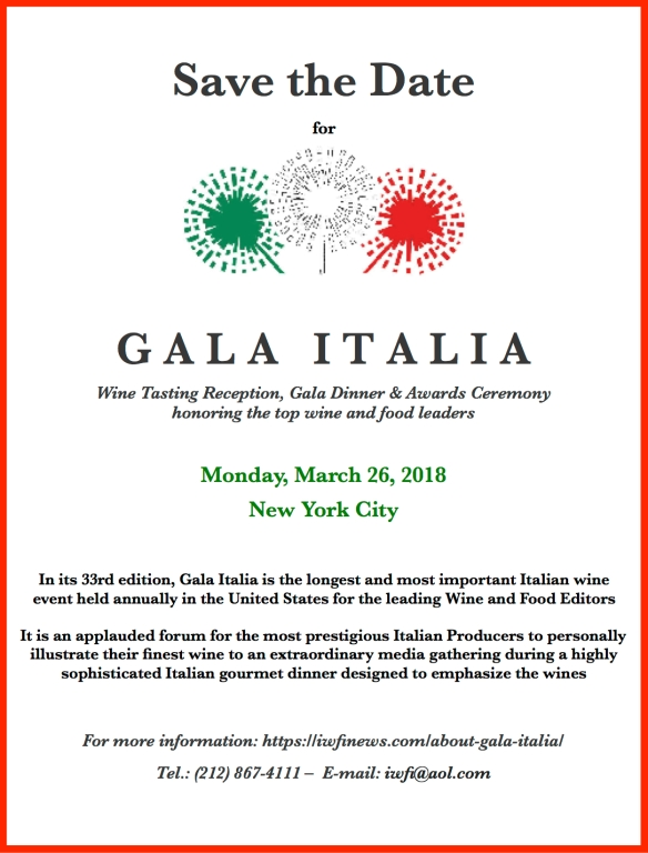 Gala Italia Save the date- Mar 26 2018